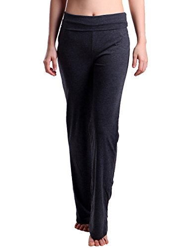HDE Foldover Athletic Yoga Pants Gym Workout Leggings (Charcoal Gray, XX-Large)