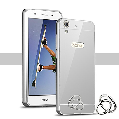 Huawei Honor 5A / Y6II / Y6 II / Y6 2 / Honor Holly 3 Bling Mirror Case,Vandot Ultra Slim Thin Metal Aluminum Bumper Frame Hard Back Cover Pattern [Scratch-resistant] [Shockproof] Protection-Silver