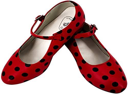 Gojoy shop- Zapato con Tacón de Danza Baile Flamenco o Sevillanas para Niña y Mujer, 5 Colores Disponibles (Lunares Negro, 29)
