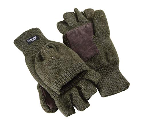 K & S Thinsulate gebreide handschoenen, olijfgroen, van scheerwol, vingerloze handschoenen, jacht, outdoor, inklapbaar
