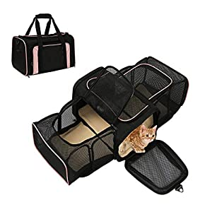 okdeals Airline Approved Pet Carrier, Soft Sided Pet Travel Carrier 4 Sides Expandable Cat Carrier with Fleece Pad for Cats, Puppy and Small Dogs (Black& Pink)