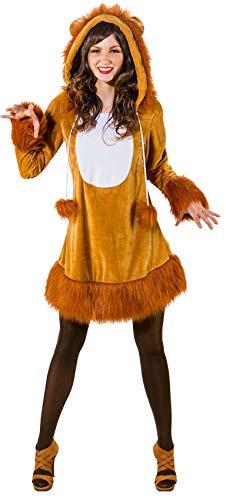 narrenkiste O9167-46-48 - Disfraz de len sexy para mujer, color marrn, talla 46-48