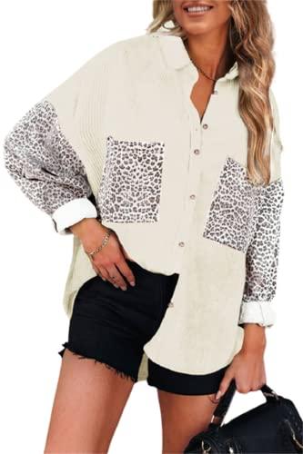 FRMUIC Women's Autumn and Winter Novelty Jacket Corduroy Leopard Print Cardigan Loose Casual Shirt Leopard Print Pocket Design Top (X-Large, Beige)