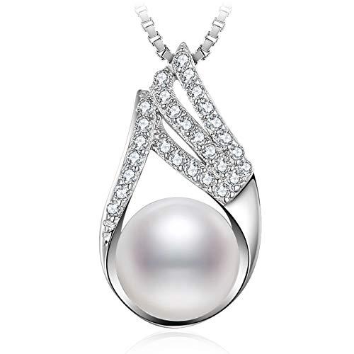 J.Vénus Damen Schmuck, Damen Kleine Perle Halskette 925 Sterling Silber Zirkonia Anhänger mit Etui Italien kette 45cm
