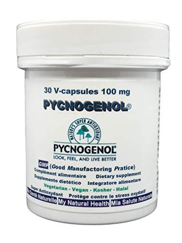 Pycnogenol® Kiefernrindenextrakt, -100 mg (pro Kapsel), 30pflanzliche Kapseln, (ausreichend für 1 Monat), Kieferextrakt von der sandigen Küste südlich von Bordeaux. Halal / Koscher / Vegetarisch