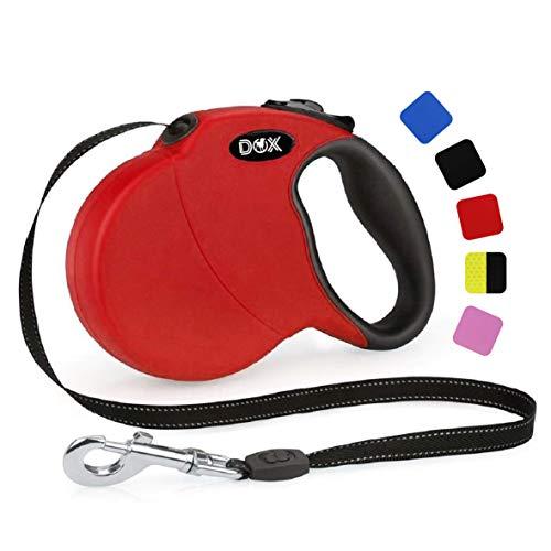 DDOXX Roll-Leine reflektierend, ausziehbar | viele Farben & Größen | für kleine & große Hunde | Gurt-Leine Hundeleine einziehbar Welpe Katze | Hundeleinen Zubehör Hund | L, 5 m, bis 50 kg, Rot
