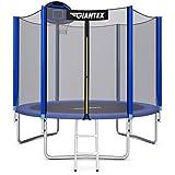Giantex Trampoline, 10Ft 12Ft 14Ft 15Ft 16Ft Enclosed Trampoline w/Basketball Hoop, Ladder, Safety Enclosure Net, Spring Pad, Outdoor Big Trampoline Basketball Hoop for Kids, Adults (10 Ft)