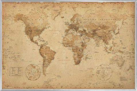 1art1 Carte Storiche Poster Stampa e Cornice (Plastica) - Mappa del Mondo, Ye Olde, in Inglese (91 x 61cm)