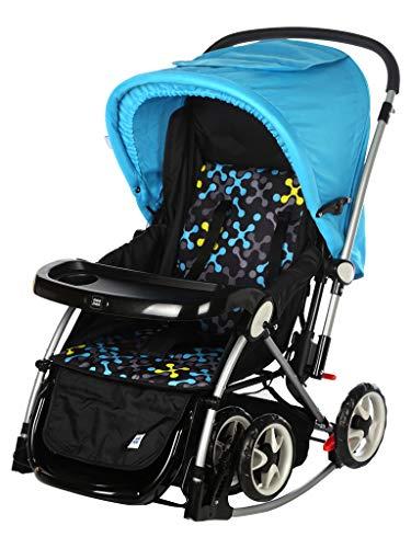 Mee Mee Premium Baby Pram with Rocker Function, Rotating Wheels & Adjustable Seat (Blue)