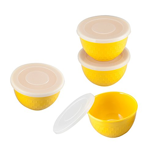 Gourmet Art 4-Piece Bee Hive Heavyweight and Durable Melamine 6 oz. Prep Bowl with Lids for Indoors Outdoors Use, Party, Wedding, Birthday and Everyday Use. BPA free