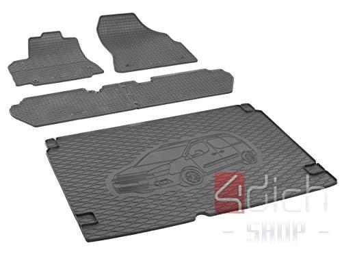 Bac de coffre et tapis de sol en caoutchouc sur mesure pour Peugeot Partner 5 places à partir de 2008 + housse de voiture MONTEUR