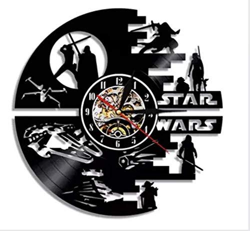 """Lounayy Star Wars Wanduhr Vinyl Record Wanduhr Wohnzimmer Uhr Geeignet Style Moderne Retro Wanduhr Für Wohnzimmer Hotel Partei A 30Cm(12Inch) (Color : B, Einheitsgröße : 30(12""""))"""