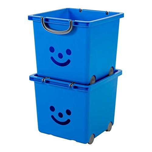 IRIS, 2er-Set Würfelboxen 'Smiley Kids Boxes', KCB-32, Kunststoff, mit Rollen, marineblau, 33 x 32 x 29 cm