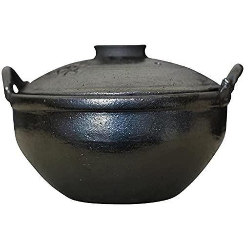 3.5 L Olla De Barro Para Fuego con Tapa,Negro Cazuela Porcelana Ø 27cmOlla Barro Horno Leña para Cocinar Hot Pot Dolsot Bibimbap Y Sopa
