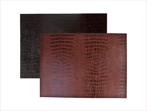 SIGNATURE HOME COLLECTION AP-104-A01 Lot de 6 Sets de Table réversibles et faciles d'entretien en Cuir Imitation Crocodile Brun Clair/foncé 45 x 33 cm Hauteur 0,5 cm