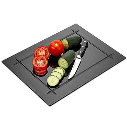 Tempered Black Glass Cutting Board with Grove Around the board 12 x 16 Inch - Scratch, Heat, Shatter Resistant, Dishwasher Safe – Decorative Tray (Black)