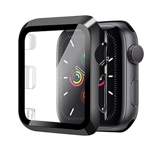 Funda para Apple Watch 42mm Serie 3/2/1+Cristal Templado, Qianyou PC Case y Vidrio Protector Pantalla Integrados, Anti-Rasguños Slim Bumper Case Cover para iWatch 42mm 1/2/3 (Negro)