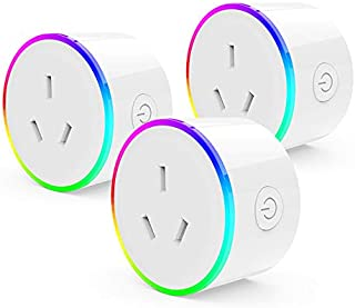 LED Colored Mini Smart WiFi Plug App Controlled Power Outlet Compatible with Amazon Alexa and Google Home, Voice Control N...