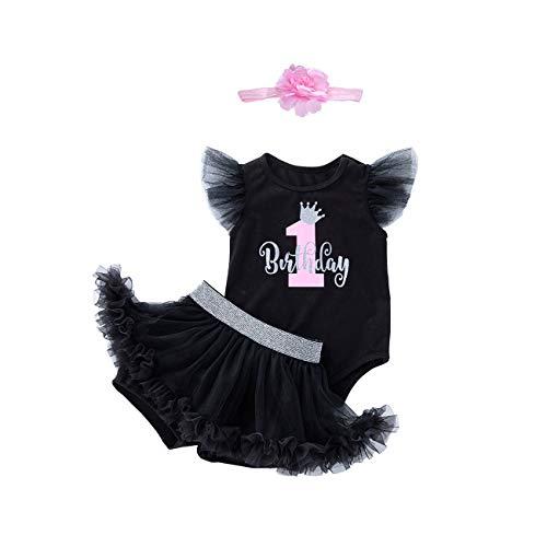 kislin 1. Geburtstag Outfit Mädchen Tutu Rock (Skorts) Bodys Baby 1 Jahr altes Mädchen Geschenke (Schwarz, L/ 9-12 Monate)