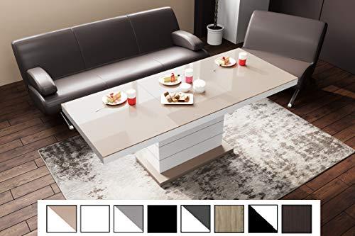 Design Couchtisch Tisch Matera Lux H-333 Cappuccino/Weiß Hochglanz höhenverstellbar ausziehbar Esstisch