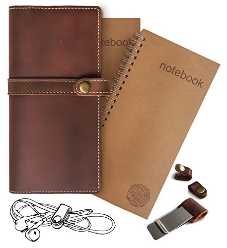 Refillable Leather Journal Travelers Notebook – 4.5 x 8.5 Standard Size Travel Diary with 2 Lined and Blank Notepads 120 Pages – Journal Cover with Pocket - Travel Gifts for Men and Women by Le Vent