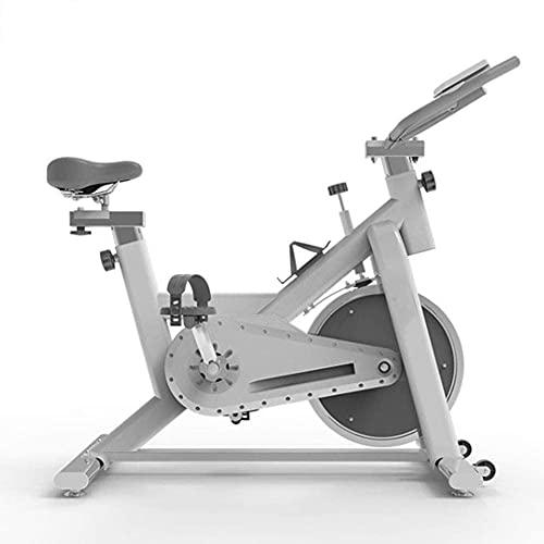Qjkmgd Dispositivo de entrenamiento de bicicletas, Bicicleta de ejercicio interior Mute Resistencia ajustable Sensor de ritmo cardíaco Pantalla LCD Adecuada para entrenamiento aeróbico interior, blanc