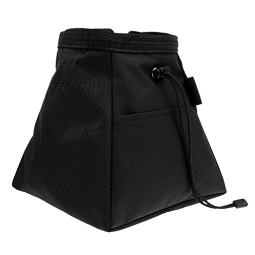 freneci Kordelzug Kreidetasche für Klettern Bouldern Gewichtheben mit Reißverschlusstasche - Schwarz