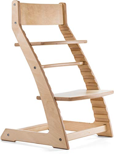 Read About Natural Birch Heartwood Adjustable Wooden High Chair Baby Highchair Solution for Babies a...