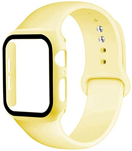 YGGFA Correa De Vidrio + Caso + For La Banda De Reloj De I 44mm 40mm 42mm Banda De Silicona De 38 Mm IWatch Tope + Reloj De Pulsera De La Manzana 6 5 4 3 2 1