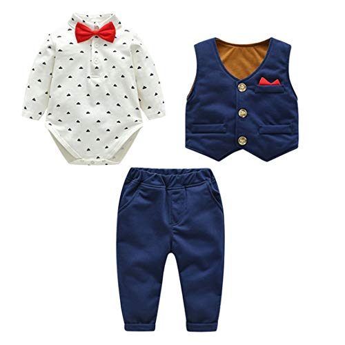 Fairy Baby Neonati 3 Pezzi Vestito Formale Toddlers Gentleman Body + Vest + Pants Size 59(0-3 Mesi) (Blu)