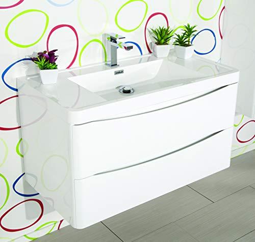 MarinelliGroup Mobile Bagno 80 cm sospeso con lavabo in Ceramica e Specchio con Ante Rovere Erika
