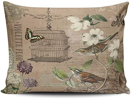 KAQIU Home Decoration Pillow Case Coloured Vintage French Birds and Garden Custom Throw Pillowcase product image