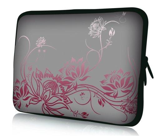 wortek Universal Notebooktasche Schutzhülle aus Neopren für Laptops bis ca. 15,4 Zoll - Ranke Grau Rot
