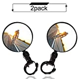 Bike mirror, 2pcs bike rear view mirrors with Wide Angle Convex Mirror, Adjustable Rotatable Handlebar for Mountain Bike, Off-Road Bike and Fixed Gear Bike Handlebars