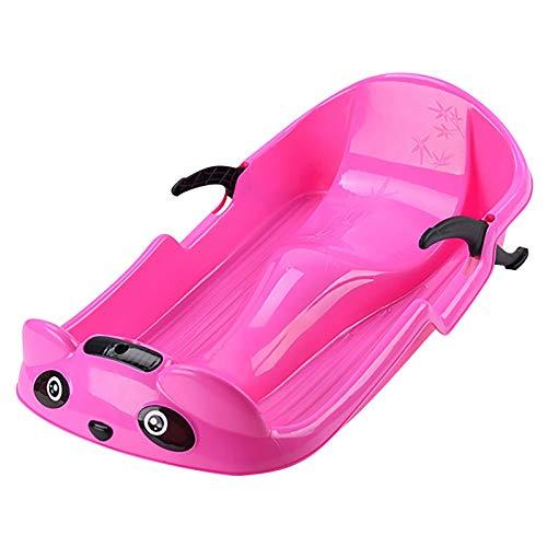 Bob Schlitten Kinder mit Lenkrad Lenkschlitten Schneebob Skibob, 2 Griffe mit Stabilität und Bremsschutz (Pink)