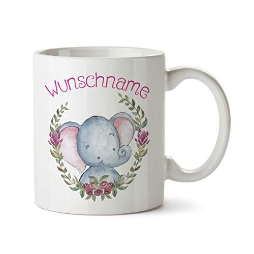 Partycards Personalisierte Tassen als Geschenkidee mit verschiedenen Motiven - Kaffebecher (Elefant + Wunschname, 300ml)