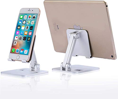 Tablet Stand Adjustable,ERAVSOW Quality Portable Foldable Aluminum Solid Tablet Holder for Desk,Compatible with All Mobile Phones,iPhone,iPad,Tablets,Amazon Kindle Fire,E-Reader (4-12.9'')-Silver.