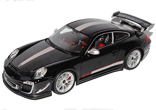 Bburago Porsche 911 997 GT3 RS 4.0 Coupe Schwarz Silber 2004-2012 1/18 Modell Auto
