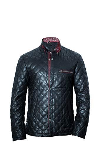 Herren Biker-Jacke, echtes Leder, gesteppt, schmale Passform, lässig, Outwear, Schwarz Gr. Large, Schwarz