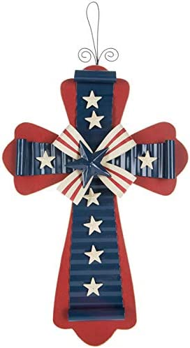 Patriotic Wooden Opening large release sale Wall Cross Home Indefinitely Indoor Outdoor 4th Decoration o