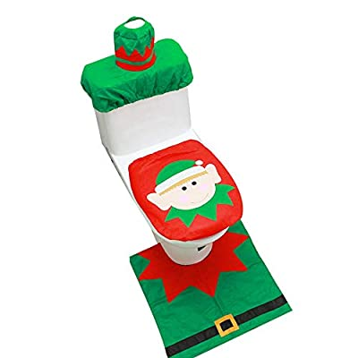 StyleZ Christmas Decorations Bathroom Toilet Seat Cover Set Tank Lip Cover+ Rug Mat+Tissue Box Cover - Set of 3 (Green Elves)