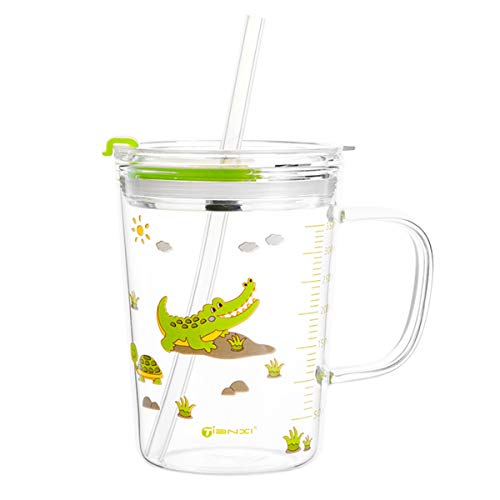 Heat Resistant Borosilicate Glass Cup Glass Measuring Cup Stovetop & Microwave Safe with Lid& Sippy Straw Water Mug For Water,Milk,Juice,Milkshake, vegetable, coffee, salad, ice cream 15 OZ/450ML