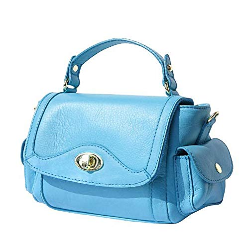 FLORENCE LEATHER MARKET Borsa a mano Celeste con tracolla in pelle donna 22x10x15 cm - Made in Italy