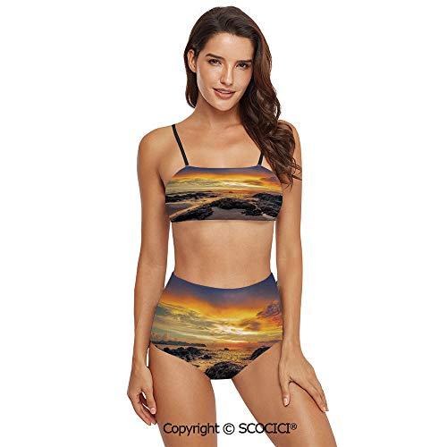 SCOCICI Bikini Swimsuit Swimwear Colorful Majestic Sunrise Sky Over The Ocean w