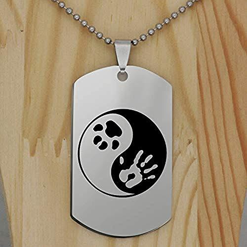 pyongjie Collar con Colgante con Estampado de Pata de Yin Yang de Acero Inoxidable, joyería de Moda Animal para Mascotas y Perros, Regalo para Mujeres