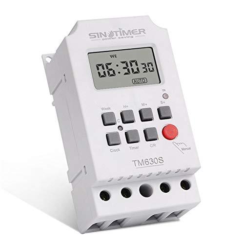 WOIA SINOTIMER TM630S-2 Interruptor de Temporizador Digital LCD semanal de 7 días, Segundo Control, Blanco