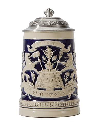 Amoy-Art Jarra de Cerveza Alemana Beer Stein Mug Deutschland Escudo de Baveria para Regalos Giftbox 0.5Litre German