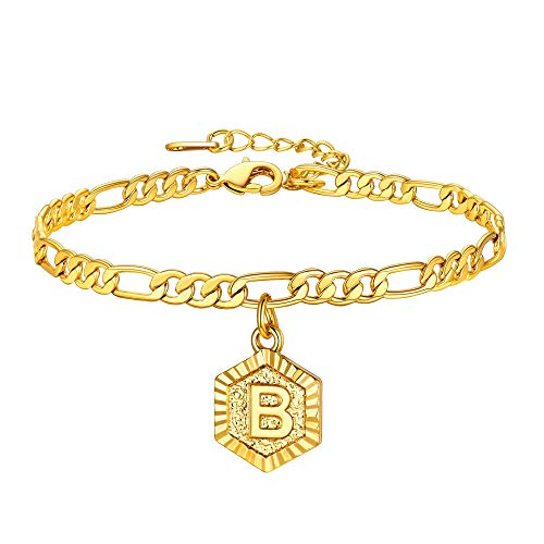 U7 Initial B Anklet with Hexagon Charm Pendant, Adjustable 22CM Figaro Chain(8.5'+2'), Present for Lover, 18K Gold Plated Majuscule Jewellery for Girls Alphabet Letter B Chain Anklet (with Gift Box)