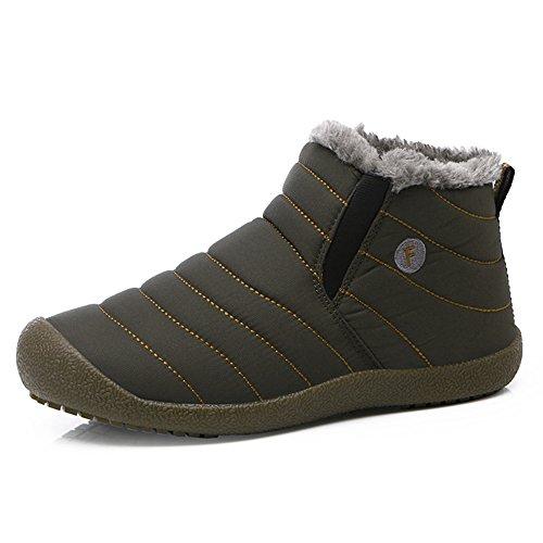 JACKSHIBO Snow Winter Boots for Women Men Waterproof Fur Lined Boots Outdoor Slip on Boots Grey High Top 8.5 Women/8 Men