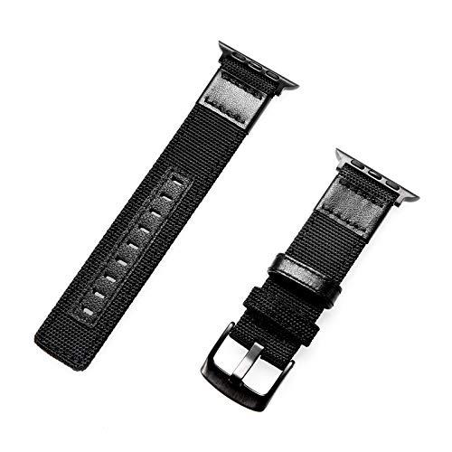 Kompatibel mit Apple Watch Armband 38 mm/40 mm/42 mm/44 mm, Nylonband, modisch, kompatibel mit der Serie iWatch 5/4/3/2/1, austauschbare Handgelenkschlaufe. 40mm/4-5 schwarz